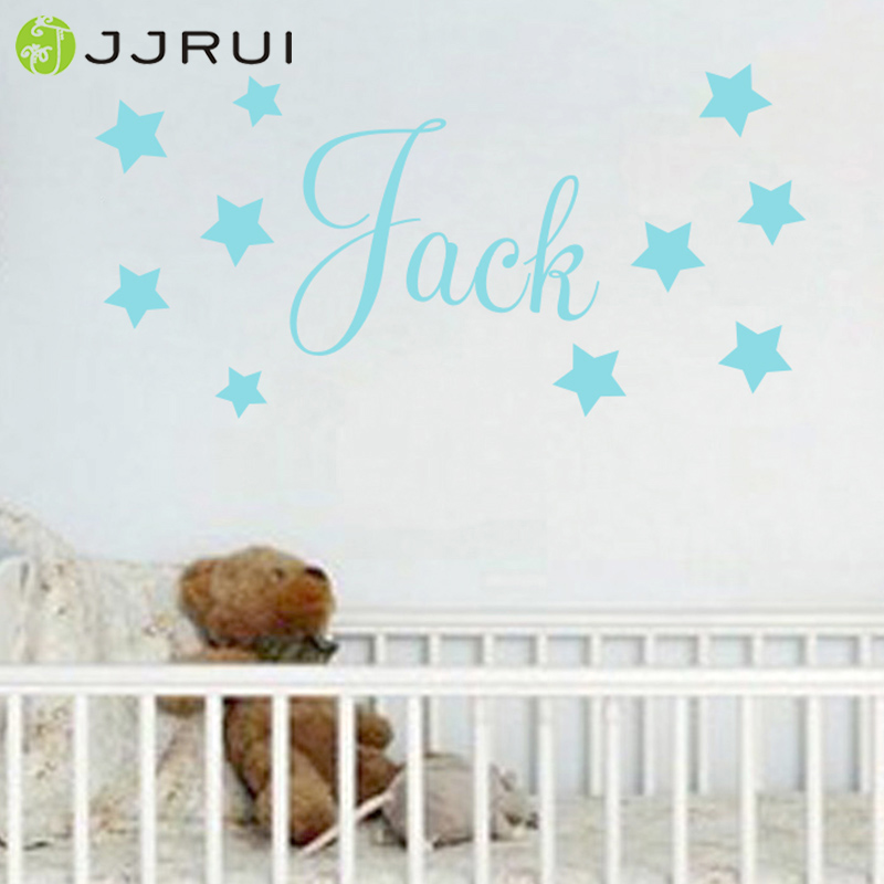 JJRUI Baby Boys Wall Sticker - Personalised Stars Child Name Bedroom Nursery Home Decor Vinyl Decal Choose 21 Color
