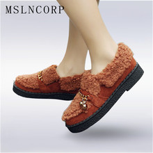 Size 34-45 New Hot Sale Women Winter Warm Fur Flats Female Casual Loafers Creepers Tenis Feminino Chaussures Femme Shoes