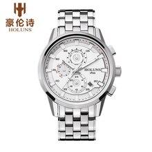 HOLUNS HY002 Watch Geneva Brand luxury men's automatic mechanical watches luminous Month day date genuine relogio masculino