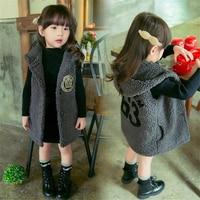 Children Girls Warm Camo Fleece Waistcoat Vest Autumn Winter Neutral Vest Children Thicken Hooded Outwears For 2 8T Kids