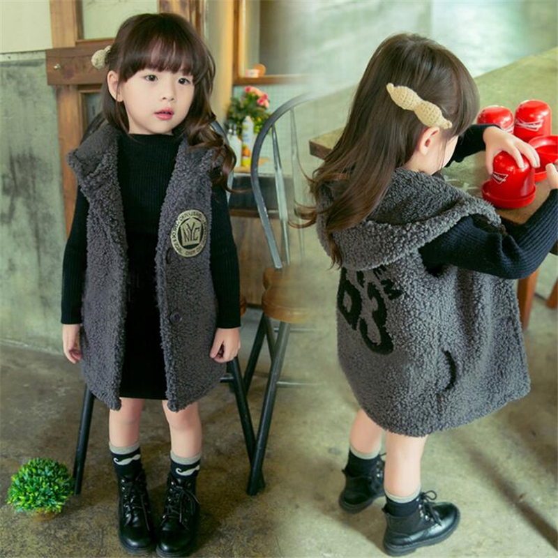 Children Girls Warm Camo Fleece Waistcoat Vest Autumn Winter Neutral Vest Children Thicken Hooded Outwears For 2 8T Kids