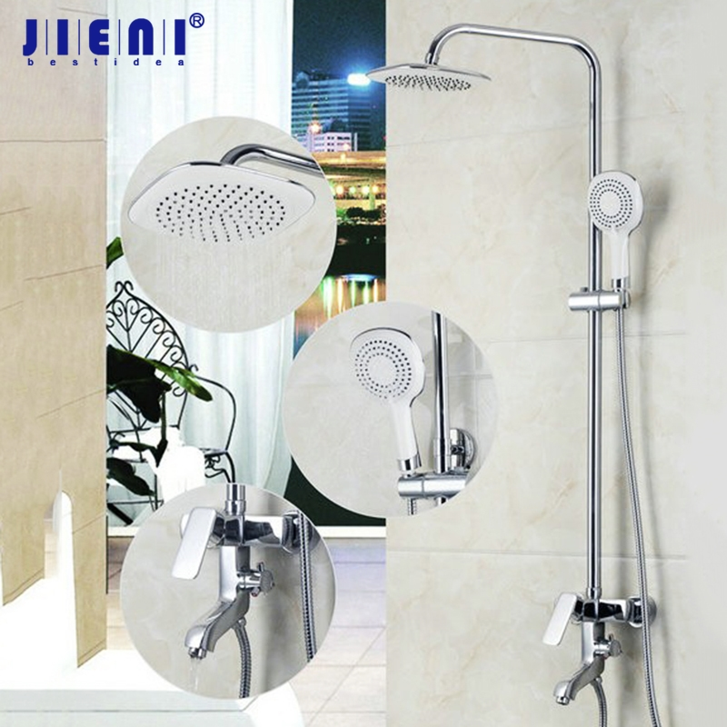 JIENI 8 Inch Rainfall Chrome Bathroom Shower Faucet Set Wall Mounted Hand Shower Bathtub Shower Water Faucet Mixer Tap все цены