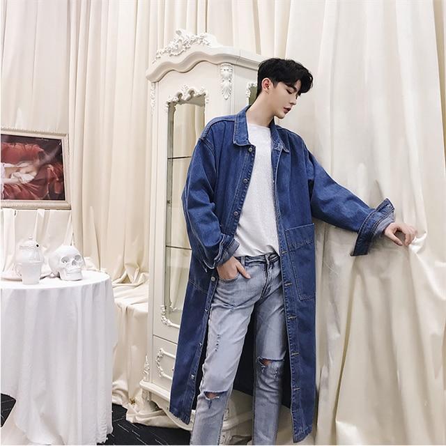 Korean Men's Loose Fit Oversize Trench Coat Jeans Denim Long Coats Blue Black Hot  Windbreaker