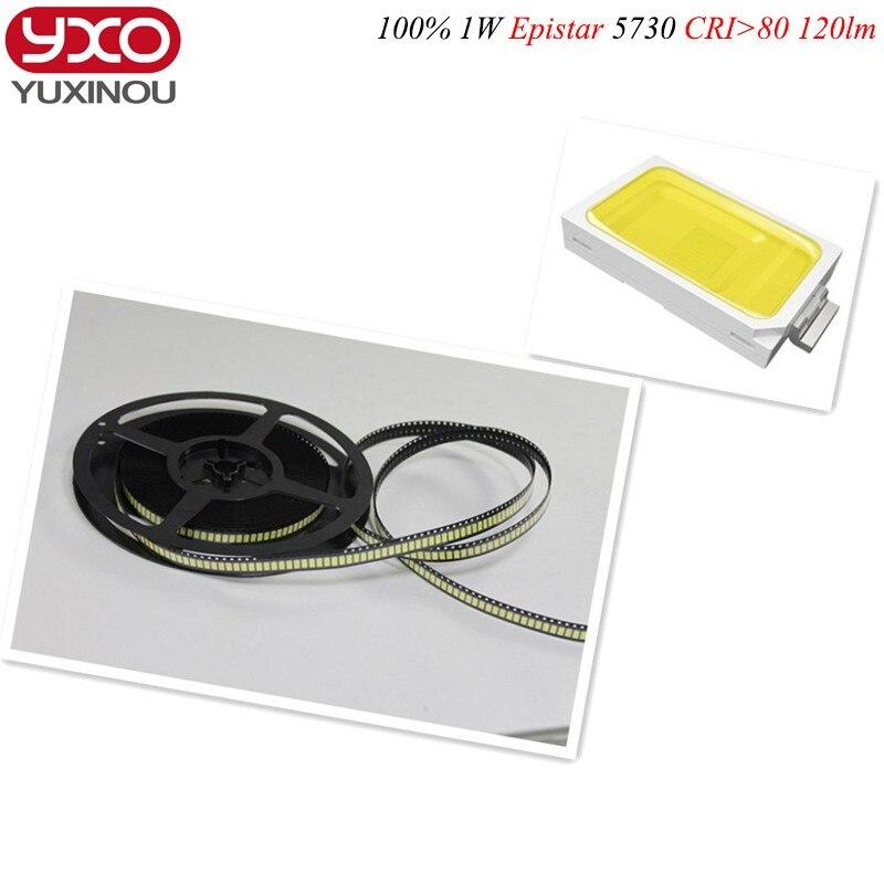 50 шт./лот SMD 5730 1 Вт 110-120lm cri> 80 6500 К 4500 К 3000 К белый свет SMD 5730 светодиодный чип лампы-(3.2 ~ 3.4 В/50 шт.)