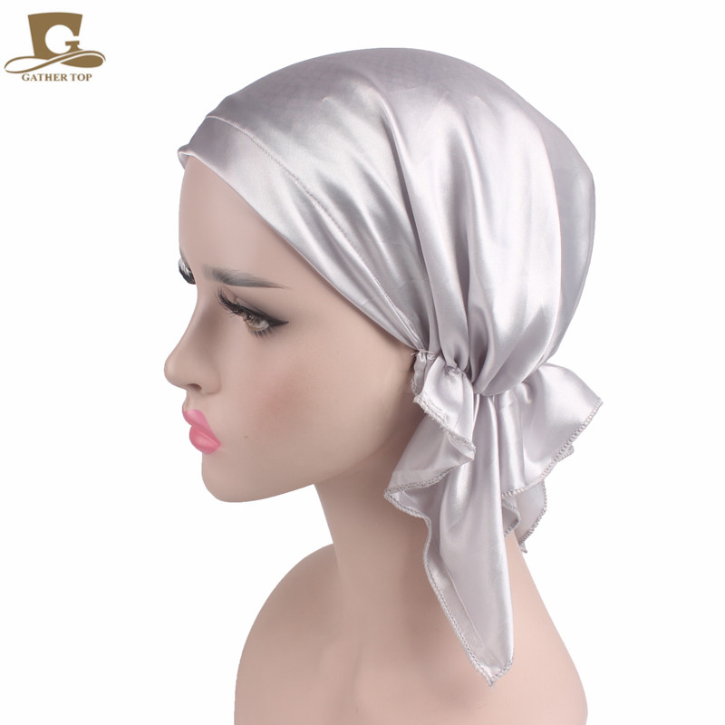 New Women Silk Satin Night Sleeping Cap For Long Hair Bonnet Hat Smooth Soft Chemo Headwear Cancer Patients Turban In Accessories From S