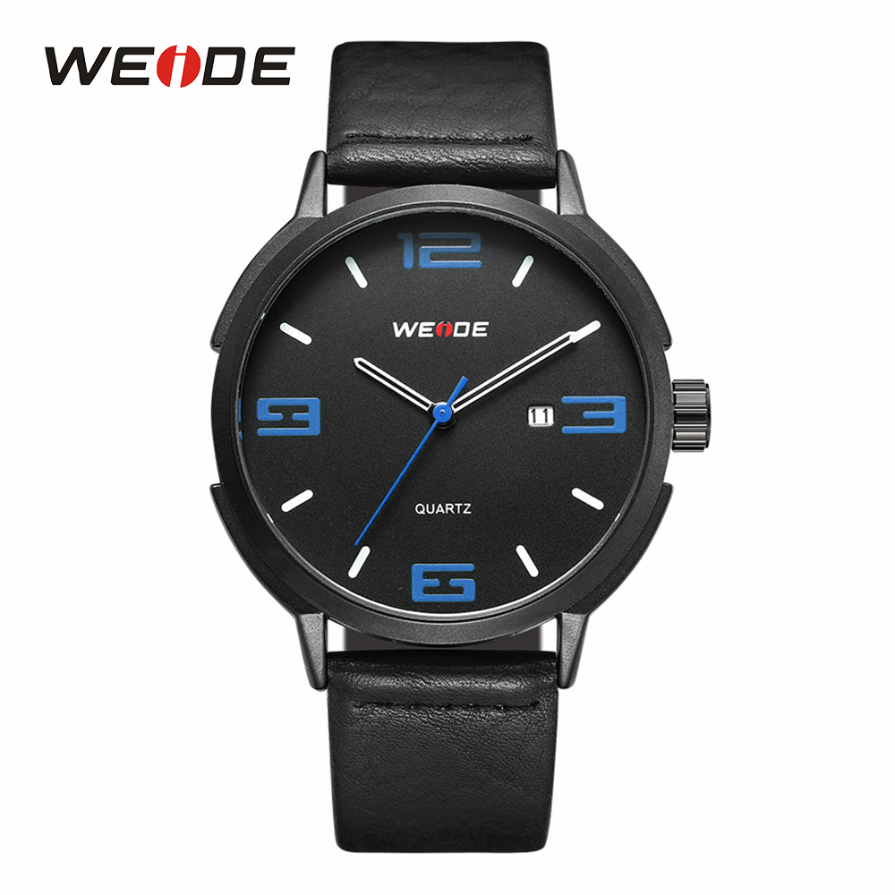 WEIDE Mens Sport Watches Calendar Auto Date Quartz Movement Analog Military Male Clock Black Strap Band Buckle Wrist Watches