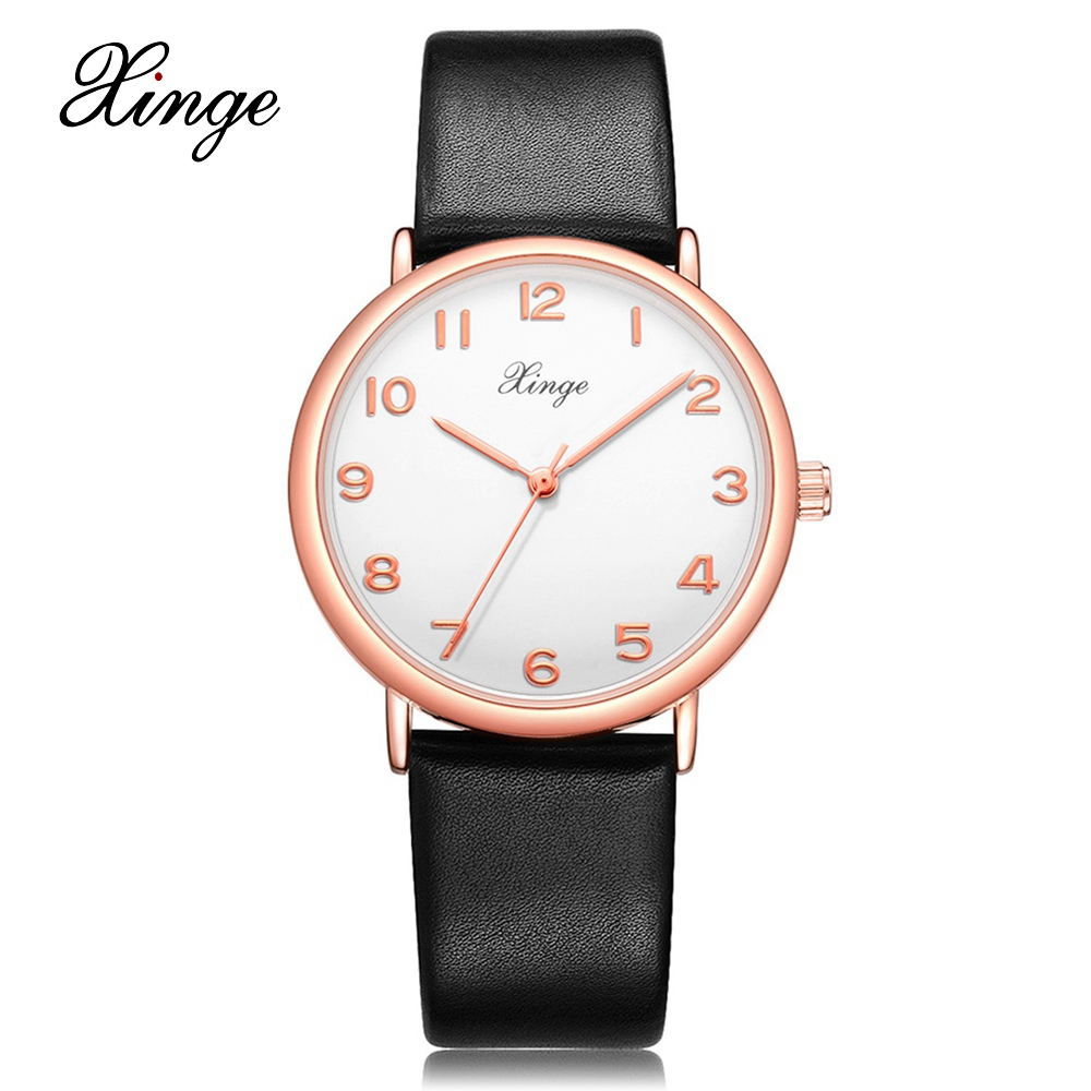 Xinge Brand Fashion Trendy Quartz Watches Women Rose Gold Dial Leather Strap Business Vintage Style Female Sport Clock XG1060 xinge brand fashion women quartz wrsit watches clock leather strap business watch ladies silver luxury female sport womens watch