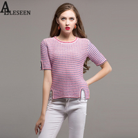 New Sweety Sweater 2017 Autumn Women Slim Short Sleeve Designer Striped Pockets Pink Pullover Autumn Knitting
