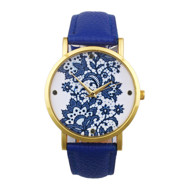 Women Fashion Quartz Wrist Watch Lace Flower Printed Leather Band Ladies Casual