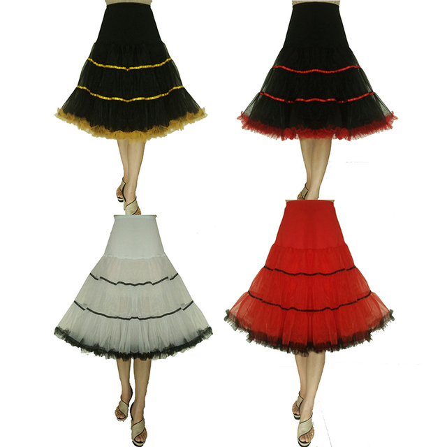 b3f6ea789180 Women Petticoat 1950s Rockabilly Vintage Tulle Puffy Underskirt Slips Girl  Skirt Kinderen Jupon White Red Black High Quality