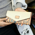 2017 New Fashion Envelope Women Wallet Hit Color 3 Fold Flowers Printing PU Leather Wallet Long Coin Purse