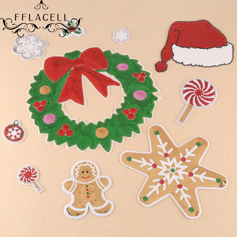 Christmas Tree Patch: FFLACELL For Clothing Appliques Bag Sew On Patches Patch