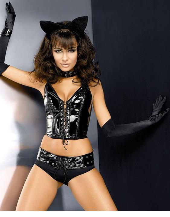 <font><b>2018</b></font> Wholesale Price <font><b>Sexy</b></font> Black Lingerie <font><b>Set</b></font> Halter Lace Up <font><b>Sexy</b></font> Catwoman Cosplay Lingerie Obsessive Pussy Cat <font><b>Costume</b></font> For Women image