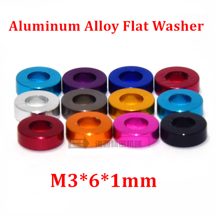 50pcs M3 6 1mm Aluminum flat washer for RC Model Part Aluminum countersunk Gasket Washer meson anodized colorful in Washers from Home Improvement