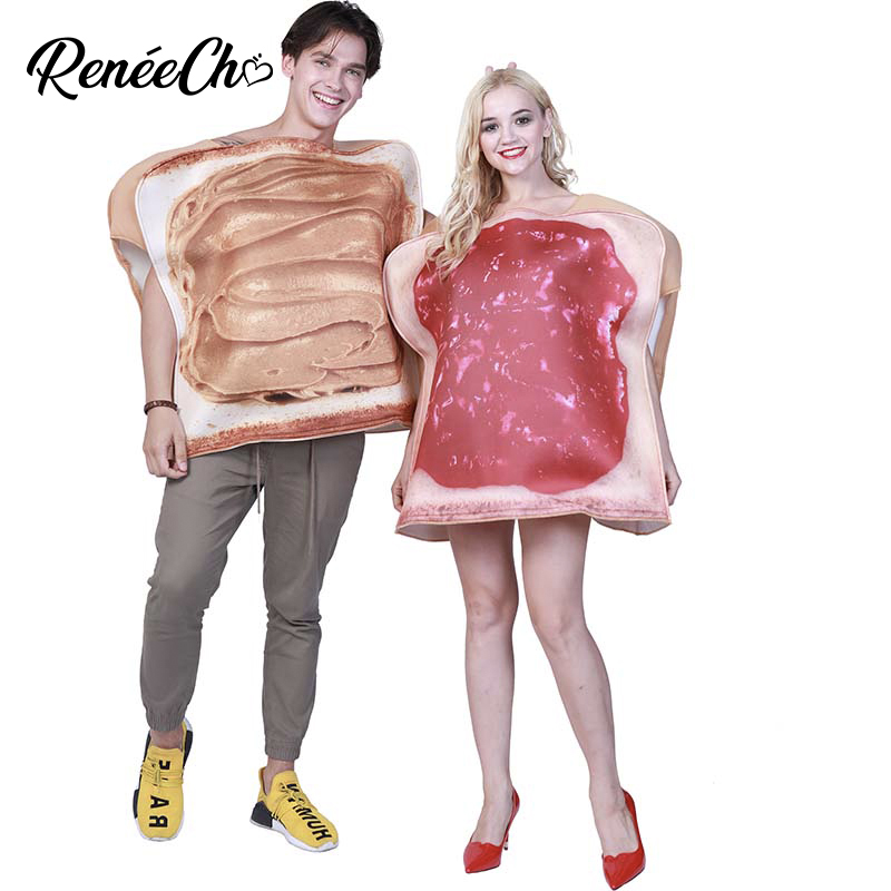 Couples Halloween Costume Halloween Cosplay Women Adult Peanut Butter And Jelly Costume 2018 Men Breakfast Christmas Costume image