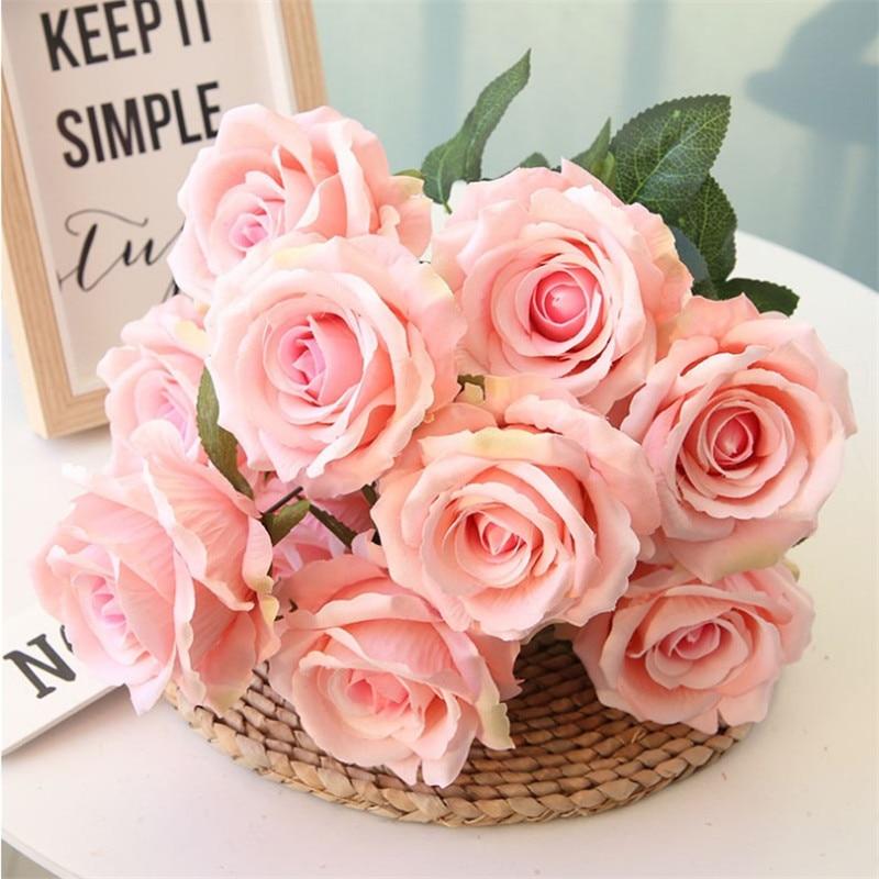 Fake Velvet Rose Bunch 10 stems piece 19 69 Length Simulation Roses for Wedding Home Showcase