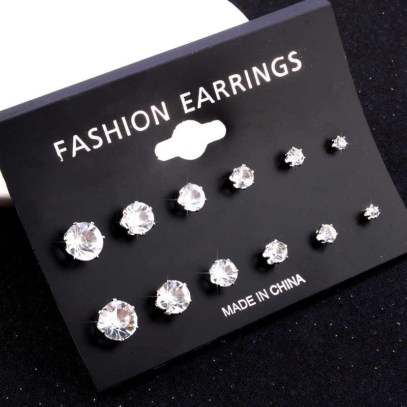 6pairs/lot women fashion accessories simple crystal Stud Earrings Cute Earring Sets For Women