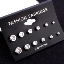6pairs/lot women fashion accessories simple crystal Stud Earrings Cute Earring Sets For Women(China)