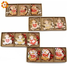 12PCS/Box Creative Squirrel&Angel Wooden Pendants Ornaments  Wood Craft Tree Kids Gift Christmas Party Decorations