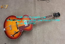 free shipping new 6 strings hollow electric guitar in orange with mahogany body for jazz music made in China LL14