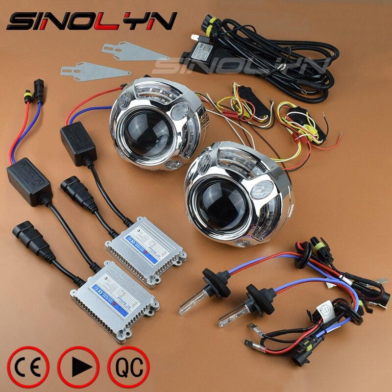 HID 3,0 дюйма автомобиля Bi xenon объектив проектора светодиодные дневные ходовые огни на передних фарах Ангельские глазки Halo поворотов переключ