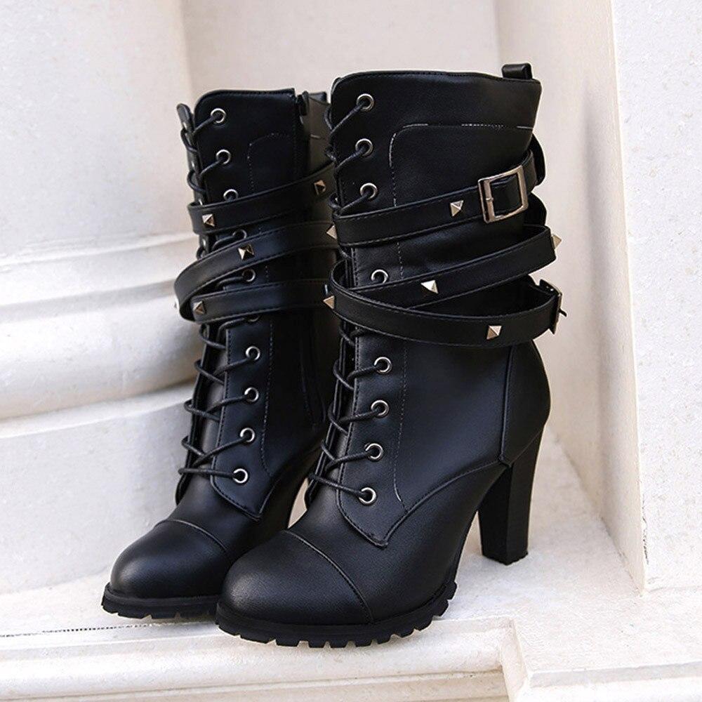 shoes Boots Women Ladies Classics Rivet Belt High Heels Mid-Calf Boots Shoes Martin Motorcycle Zip boots women 2018Oct31 20