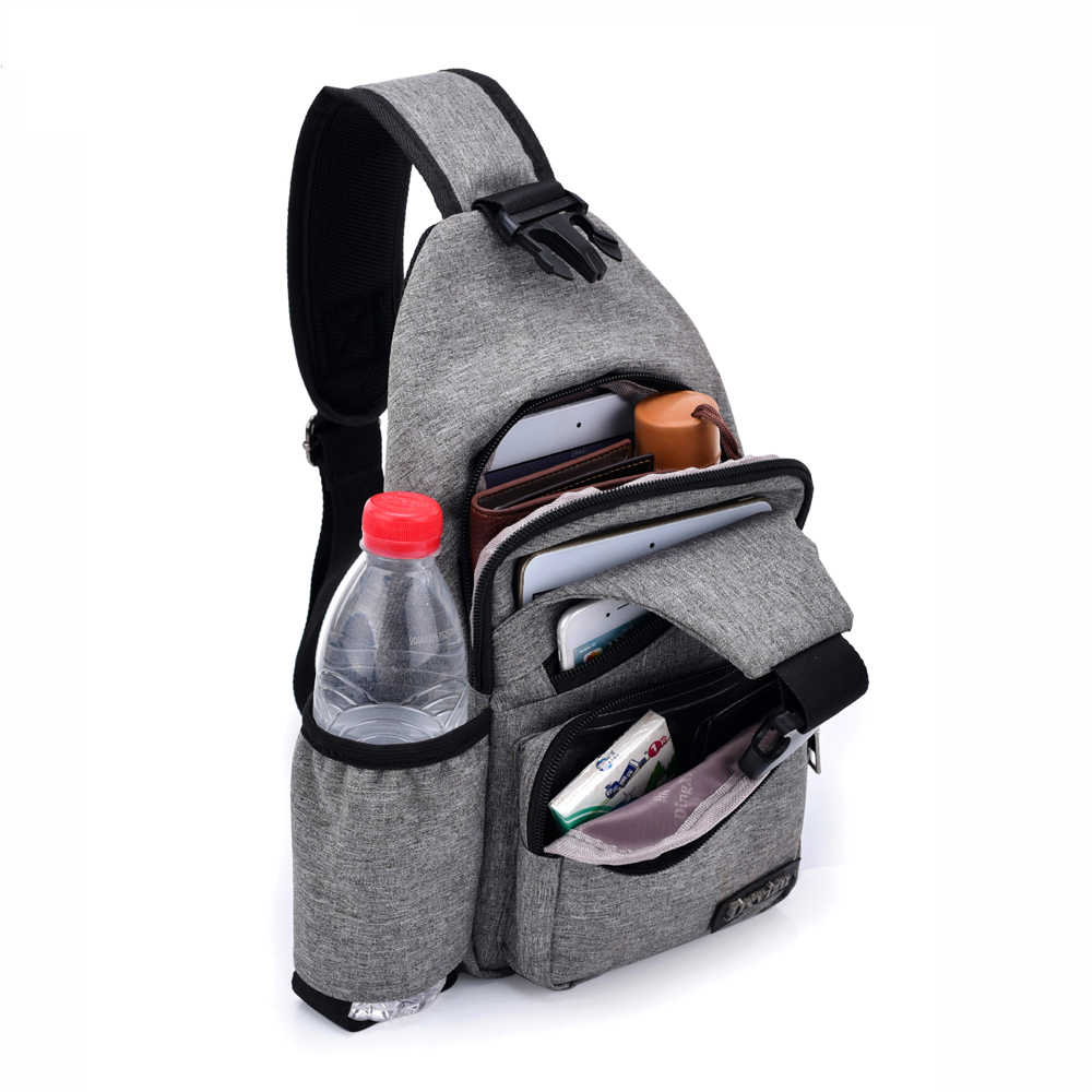 Chest Bag Men Canvas Sling Bag Shoulder (USB Charge Interface) Satchel Large Crossbody Charing Bag With Side Bottle Pocket 2019