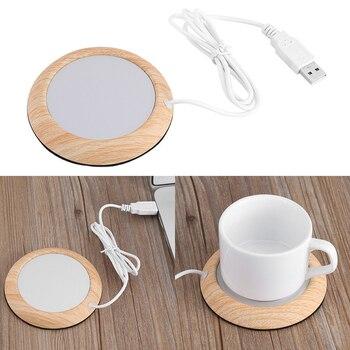 USB Warmer Cup-Pad Gadget Wood Grain Coffee Tea Drink USB Heater Tray Mug Pad Coaster Office Gift 1