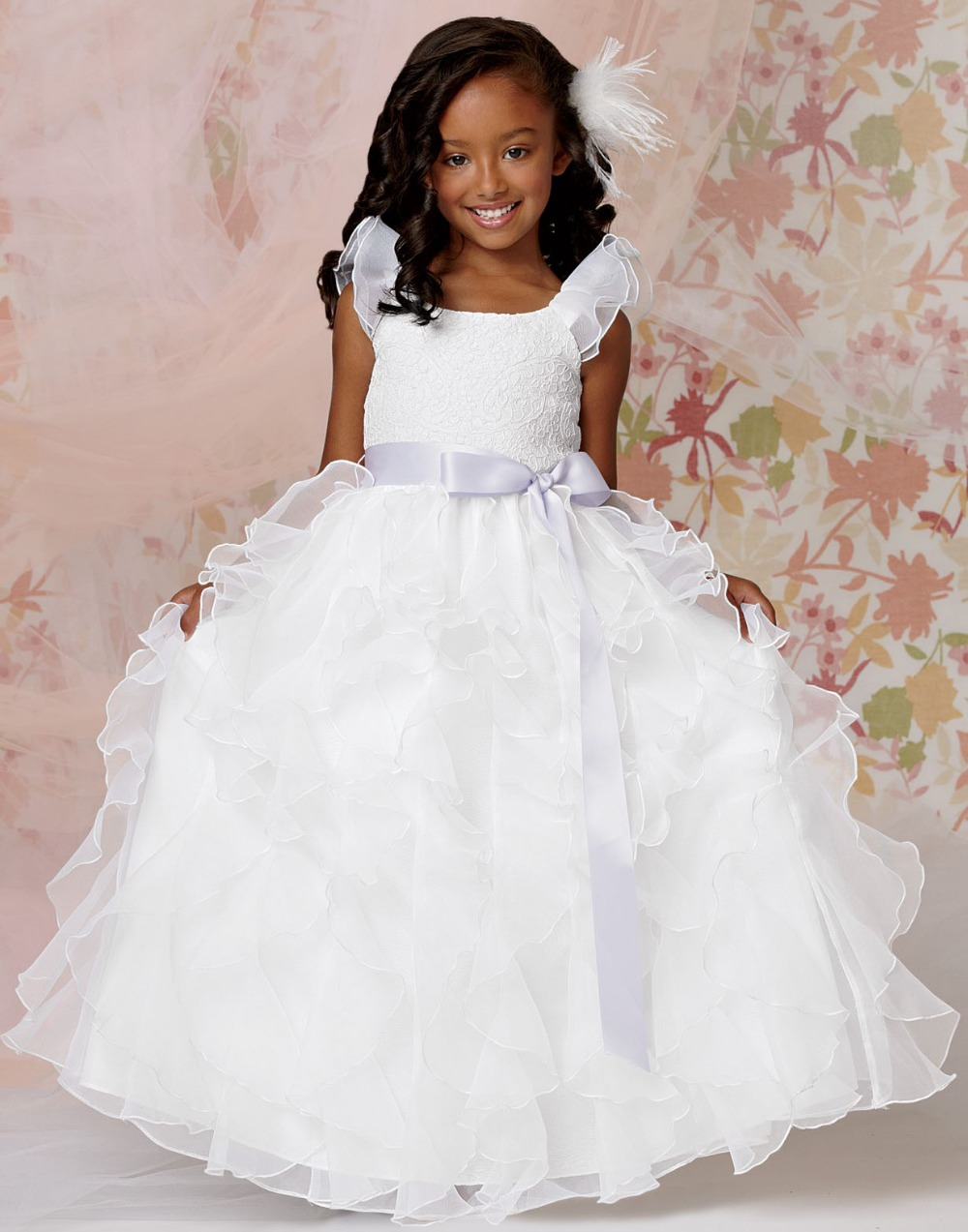 ca90a63ee98 2015 New Little Flower Girl Organza Belted White Ball Gown Prom Dress  Children Pageant Dresses For Wedding China FG053