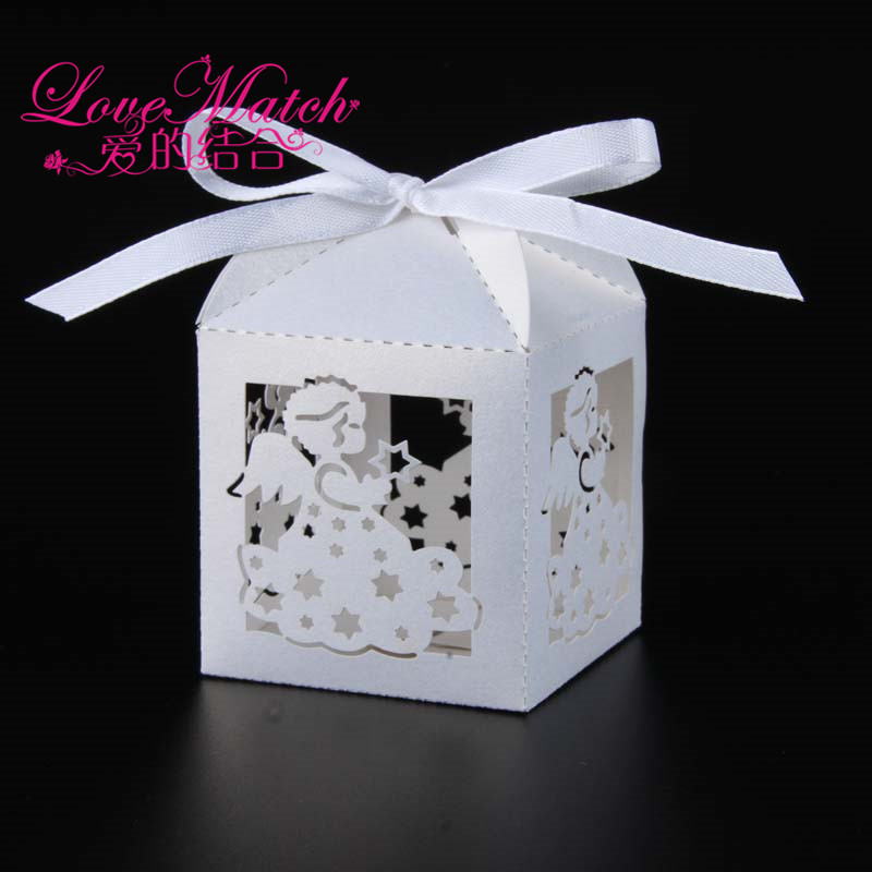 2019 New 50pcs Laser Cut Baby Angle Wedding Box Candy Box Gift Box Baby Shower Souvenir 1 Birthday Decorations Party Supplies