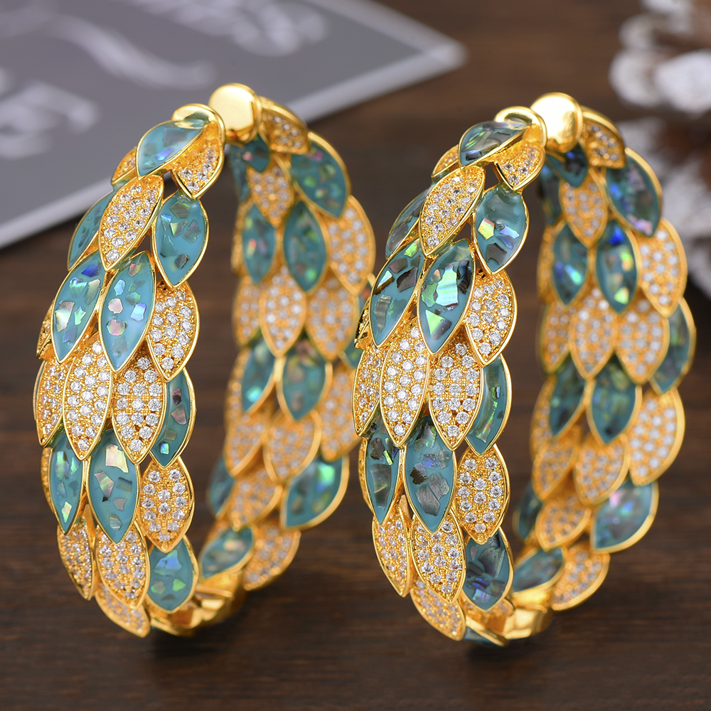 Image 4 - GODKI Luxury Peacock Abalone Shell Statement Big Hoop Earrings  For Women Wedding Cubic Zircon DUBAI Bridal Circle Hoop EarringHoop  Earrings