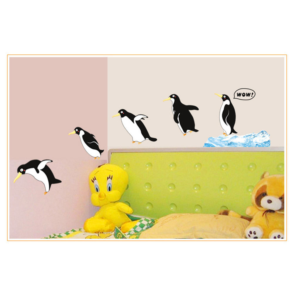 60*90cm DIY Family Of Penguin Wall Stickers Five Penguins Kids Baby ...