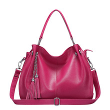large casual women bag genuine leather shoulder bags brand ladies real leather handbag big womens leather handbags(China)