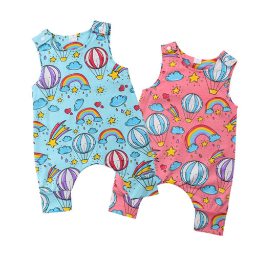 Summer Sleeveless Newborn Baby Boy Girl Rainbow   Romper   Jumpsuit Hot Air Balloon Print One Pieces   Rompers   Clothes Outfits