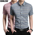 2017 New Fashion Plaid Short-sleeved Shirts Men Casual Cotton Slim Fit Shirts For Men Checks Shirts Plus Size Free Shipping
