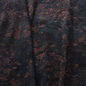 108CM Wide 19MM Brown Floral Print Dark Blue Gambiered Guangdong Silk Fabric for Summer Spring Dress Shirt H183