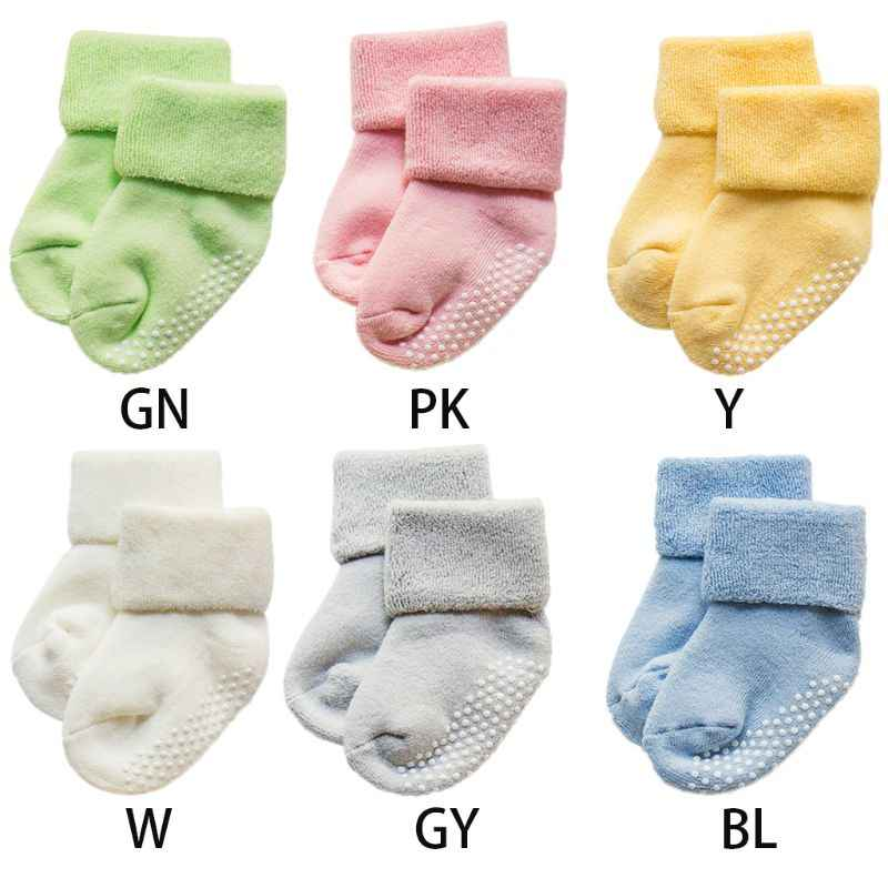 1Pair Infant Toddler Baby Anti-Slip Rubber Dot Floor Short Ankle Towel Socks Combed Cotton Thicken Solid Color Cuffed Autumn