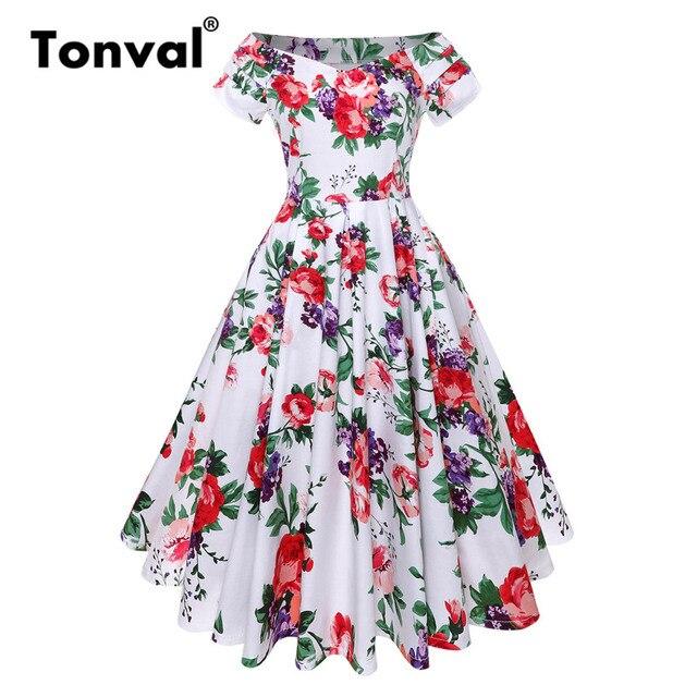 4a89ec146ab Tonval Floral Dress Off Shoulder Elegant Retro Party Women Sexy Dress  Ruched Sleeve Rockabilly Vintage Pleated Dresses