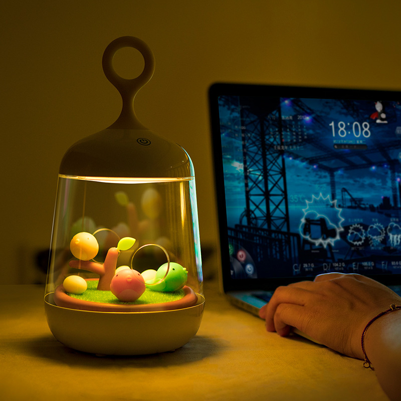 Hiliwon Birdcage LED Night Light USB Port Rechargeable Touch Sensor Table Bird Light Portable Night Lamp For Children Baby red green blue yellow cyan purple white creative led bird lamp usb bird cage night light with touch button gx129