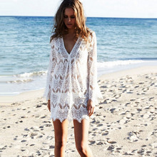 2019 Sexy Hook Flower Blouse Solid V-neck Beach Cover-up Hollow Out Knit Long sleeve Dress Summer Swimming BIkini Overwear XXL
