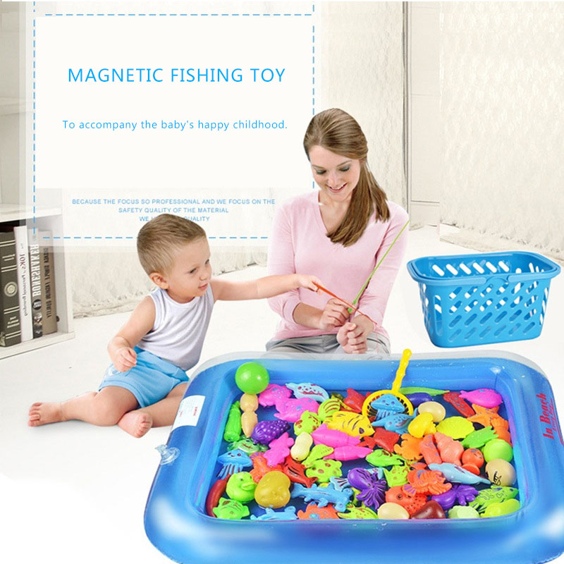 Magnetic Fishing Toy Game With Inflatable Pool Magnetic Fishing Toy Rod Net Set For Kids Child Model Play Fishing Games Outdoor