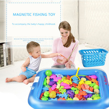Magnetic Fishing Toy Game With Inflatable pool Magnetic Fishing Toy Rod Net Set For Kids Child Model Play Fishing Games Outdoor(China)