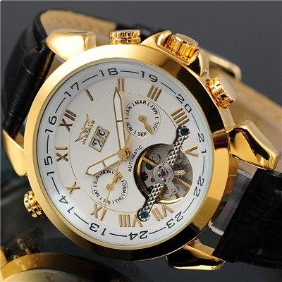 JARAGAR Men's Auto Mechanical Golden Case Flying Tourbillon Watch Relogio Masculino Male Wristwatch Montre Homme angie st7194 fearless series male auto mechanical watch
