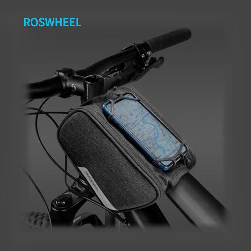Sac de vélo Roswheel sac de vélo vélo écran tactile étanche à la pluie sacs de téléphone élasticité unisexe Tube supérieur sac support pour téléphone pour vélo