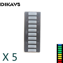 Electronic Components Supplies - Optoelectronic Displays - 5pcs/lot 10 Grid Digital Segment LED Light Bar 10 Flat Tube Of Super Bright 2 Red+3 Yellow+4 Green+1 Blue Light Flat Tube