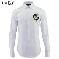 LOZOGA 2019 Embroidery Flower Men Shirt Long Sleeved Casual Shirts For Men Slim Male Shirts Luxury Quality Size 38 48