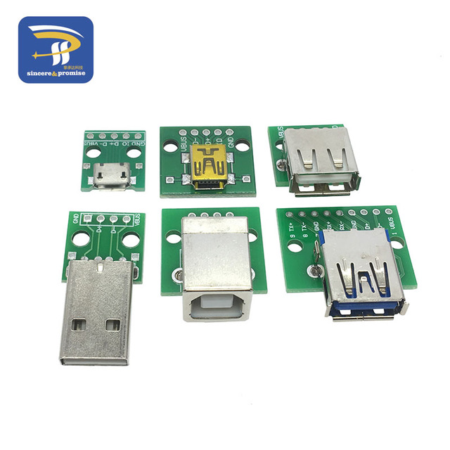 6PCS USB to DIP Adapter Converter for 2.54mm PCB Board USB 2.0 USB 3.0 USB-01 USB-02 USB-03 USB-05 USB-30 Power Supply each 1pcs