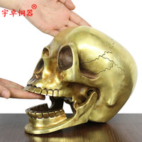 Unique art # PUNK COOL # Metal death ROCK #2019office home TOP Fashion decorative art Skull Heads brass statue