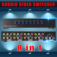 8 Ports Composite 3 RCA Video Audio AV Switch Splitter Box Selector 8 In 1 Out 8x1 for HDTV LCD Projector DVD