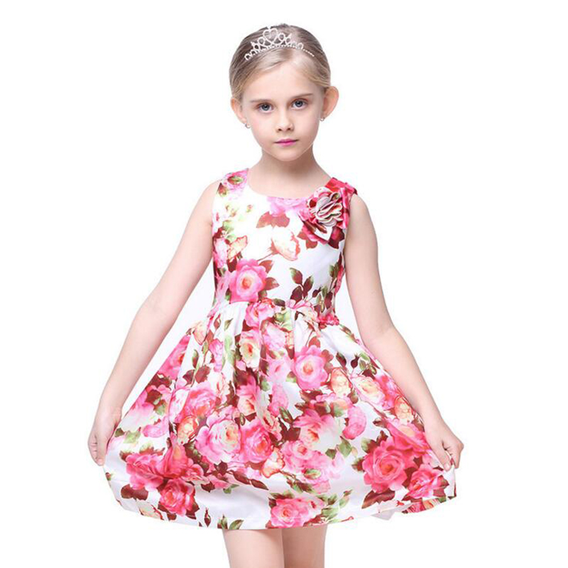 Bongawan Sleeveless Casual Flower Dress for Girls WITH European and American Style Dresses for Toddler Girls Summer Clothing bongawan 2018 new autumn